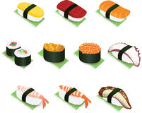 Japanese Sushi and Rolls Vector Icon Illustration Royalty Free Stock Image