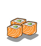 Japanese sushi and rolls Stock Images