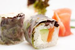 Japanese sushi rolls. Japanese sushi rolls isolated on white background Stock Images