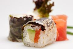 Japanese sushi rolls. Japanese sushi rolls isolated on white background Royalty Free Stock Photo