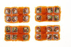 Japanese sushi rolls. Japanese sushi rolls isolated on white background Royalty Free Stock Image