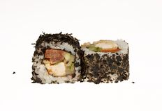 Japanese sushi rolls. Japanese sushi rolls isolated on white background Royalty Free Stock Images