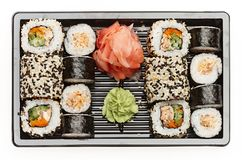 Japanese sushi rolls. Japanese sushi rolls isolated on white background Royalty Free Stock Photography