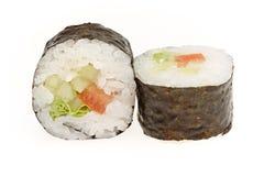 Japanese sushi rolls. Japanese sushi rolls isolated on white background Royalty Free Stock Photos