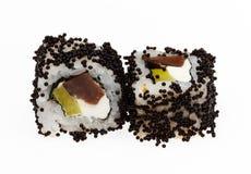 Japanese sushi rolls. Japanese sushi rolls isolated on white background Stock Photography