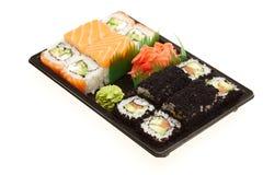 Japanese sushi rolls. Japanese sushi rolls isolated on white background Stock Photos