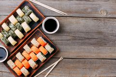 Japanese sushi rolls set restaurant serving Royalty Free Stock Photos