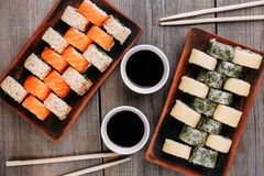 Japanese sushi rolls set restaurant serving Stock Image