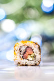 Japanese sushi rolls on a white background stock photo