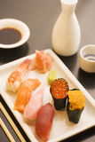 Japanese sushi and sake Royalty Free Stock Images
