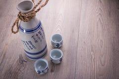 Japanese sushi and sake set Stock Photo