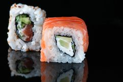 Japanese sushi with salmon avocado rice. royalty free stock image