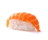 Japanese sushi with salmon fish. On white background Stock Photography