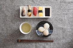 Japanese Sushi and Sashimi - Egg, Tuna, Eel, Swordfish, Scallop Stock Image