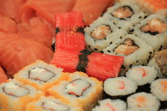 Japanese sushi. And sashimi, various sorts on a serving plate stock photography