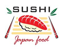 Japanese sushi seafood emblem Stock Photo