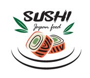 Japanese sushi seafood emblem. Red and green colored Japanese sushi seafood emblem with bamboo leaves suitable for restaurant and food logo design Royalty Free Stock Photo