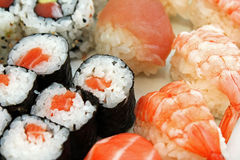 Japanese sushi seafood and other. Japanese sushi seafood, rice, fish and other Royalty Free Stock Photos