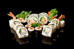 Japanese sushi seafood rolls Stock Image