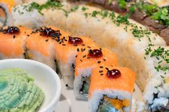 Japanese sushi self-service buffet Royalty Free Stock Image