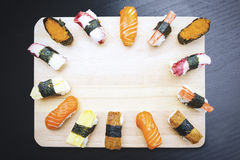 Japanese sushi served on the wooden plate Stock Photo
