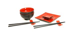 Japanese sushi service for two isolated Stock Images