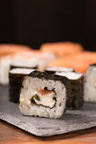 Japanese sushi set. Closeup of sushi set - various sushi roll Royalty Free Stock Photos