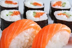 Japanese sushi set with salmon. Set of sushi and rolls with a salmon Stock Photo