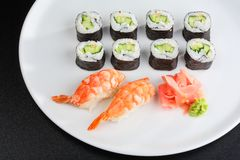 Japanese sushi set with shrimps. Set of sushi and rolls with a shrmps Stock Photography