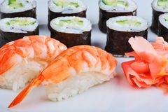Japanese sushi set with shrimps. Set of sushi and rolls with a shrmps Royalty Free Stock Photography