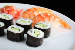 Japanese sushi set with shrimps Royalty Free Stock Photos