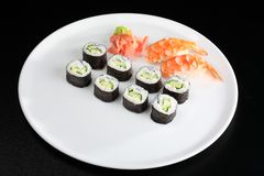 Japanese sushi set with shrimps Stock Photos