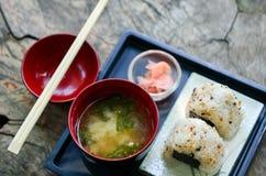 Japanese sushi set with soup Royalty Free Stock Photo