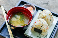 Japanese sushi set with soup Royalty Free Stock Photography