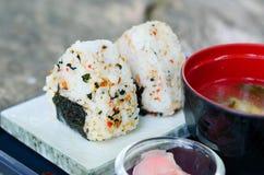 Japanese sushi set with soup Stock Photo