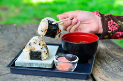 Japanese sushi set with soup Stock Images