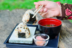 Japanese sushi set with soup Stock Photos