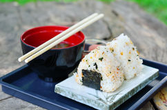 Japanese sushi set with soup Stock Photography