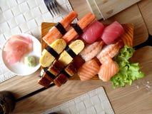 Japanese sushi set. Standard Japanese sushi set serve with Stock Images