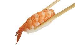 Japanese sushi with shrimp. On black background Stock Photo