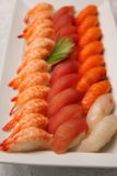 Japanese sushi shrimp tuna and  salmon Stock Images