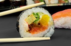Japanese sushi and sticks composition Royalty Free Stock Photography