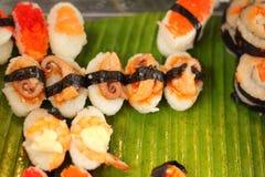 Japanese sushi - sushi egg, shrimp, crab stick, seaweed. Stock Image