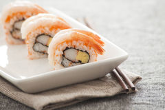 Japanese Sushi - Sweet Shrimp Roll Royalty Free Stock Photos