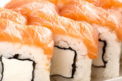Japanese sushi traditional food. Fresh Philadelphia rolls Stock Photos