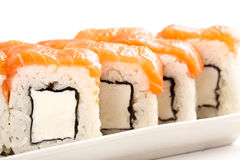 Japanese sushi traditional food. Fresh Philadelphia rolls Royalty Free Stock Image