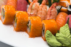 Japanese sushi. Traditional food made ​​of rice and fish Stock Images