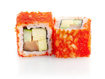 Japanese sushi with tuna, cucumber, avocado and red caviar Stock Images
