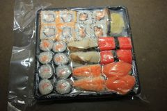 Japanese sushi, vacuum packed. Japanese sushi, different sorts and vacuum packed stock image