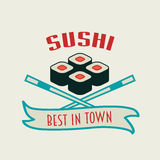 Japanese sushi vector logo, label or badge design with rolls and two chopsticks. Japanese sushi vector logo, label or badge design template with rolls and two stock illustration